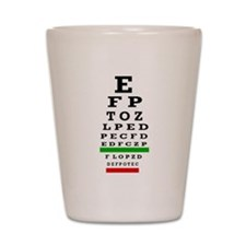 CP duvet cover eye chart Shot Glass