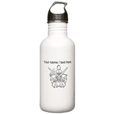 Custom White Knight Mascot Water Bottle