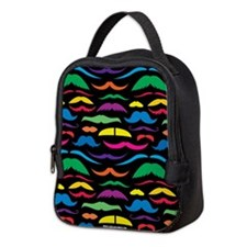 Mustache You A Question Bright Black Neoprene Lunc