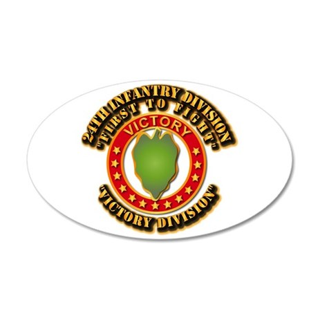 Army - 24th INF Div - DUI 20x12 Oval Wall Decal