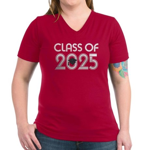 Class of 2025 Grad Women's V-Neck Dark T-Shirt