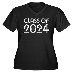 Class of 2024 Grad Women's Plus Size V-Neck Dark T