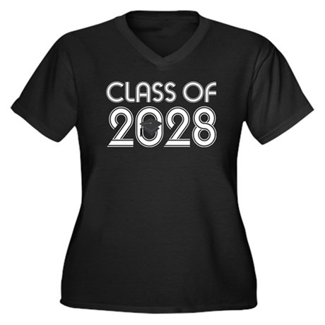 Class of 2028 Grad Women's Plus Size V-Neck Dark T