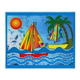 Whimsical Sailboats Throw Blanket