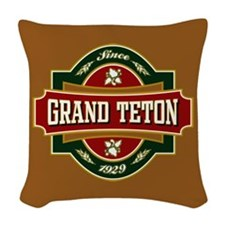 Grand Teton Old Label Woven Throw Pillow