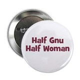Half GNU Half Woman Button