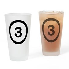 number three 3 Drinking Glass