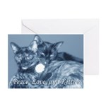 """""""Peace, Love, and Kitties"""" Greeting Cards"""