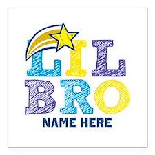 "Add Name Lil Bro Square Car Magnet 3"" x 3"""