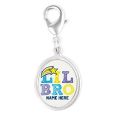 Add Name Lil Bro Silver Oval Charm