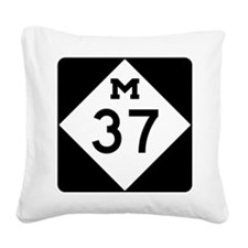 Highway M-37 Square Canvas Pillow