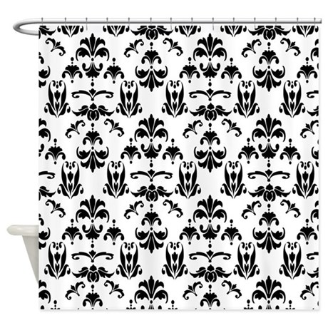Black White Damask 20 Shower Curtain By DPeaGreenDesigns
