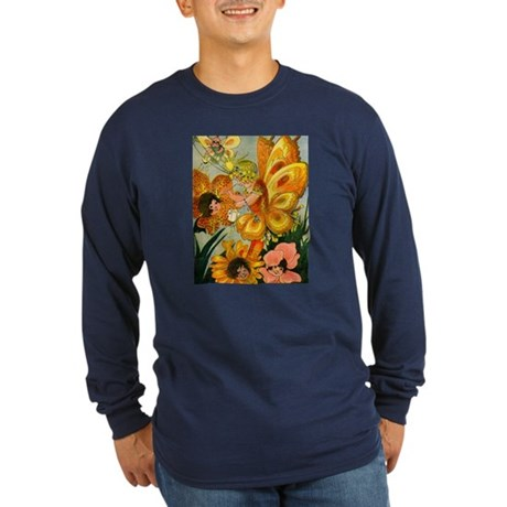 Flower Folk Long Sleeve Navy T-Shirt