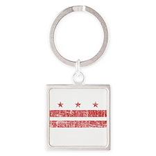 Aged Washington D.C. Flag Square Keychain
