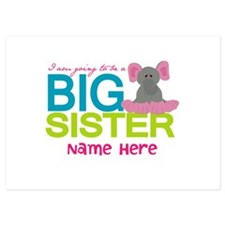 Personalized Elephant Big Sister Invitations