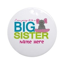 Personalized Elephant Big Sister Ornament (Round)