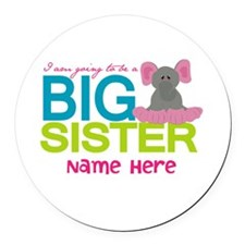 Personalized Elephant Big Sister Round Car Magnet