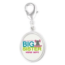 Personalized Elephant Big Sister Silver Oval Charm