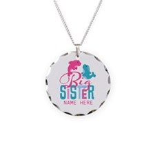 Custom Dolphin Big Sister Necklace Circle Charm