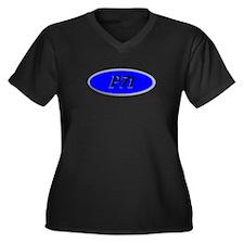 P71 Women's Plus Size V-Neck Dark T-Shirt