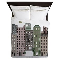 Retro Buildings Queen Duvet