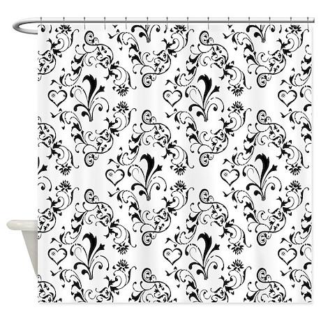 Black white damask 21 shower curtain jpg color white amp height 460 amp width