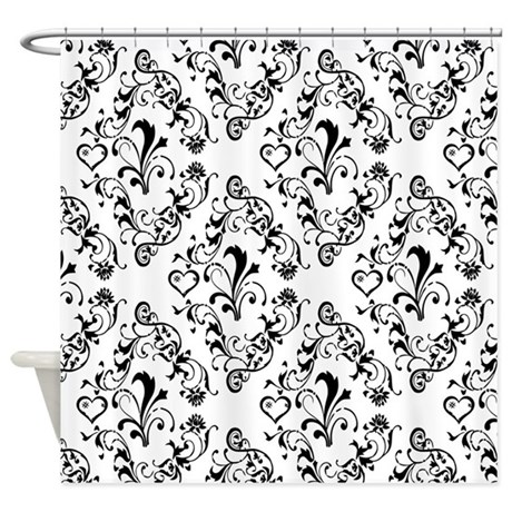 Black White Damask 21 Shower Curtain By DPeaGreenDesigns