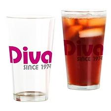 Diva Since 1974 Drinking Glass