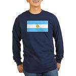 Argentina Blank Flag Long Sleeve Blue T-Shirt