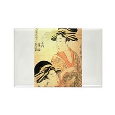 Two Women Utamaro Woodcut Rectangle Magnet