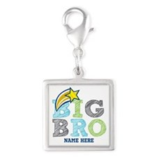 Star Big Bro Silver Square Charm