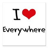 "I love Everywhere Square Car Magnet 3"" x 3"""