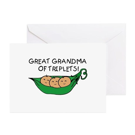 Great Grandma of Triplets Greeting Cards (Package