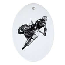 Dirt bike High Flying Oval Ornament
