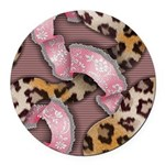 Leopards and Lace - Pink Round Car Magnet