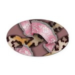 Leopards and Lace - Pink Oval Car Magnet