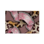 Leopards and Lace - Pink Rectangle Magnet