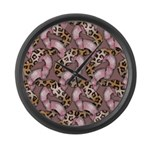 Leopards and Lace - Pink Large Wall Clock