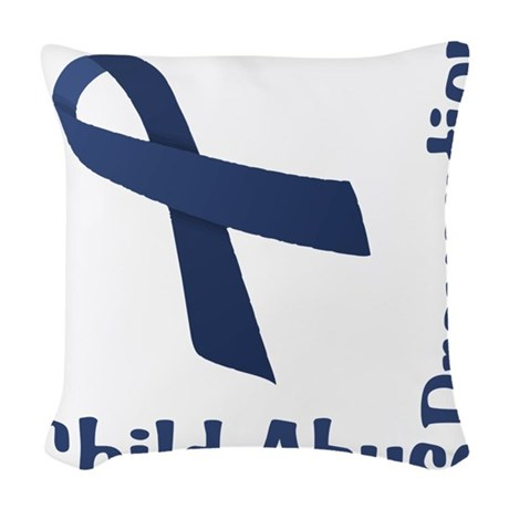 Child Abuse Prevention Woven Throw Pillow