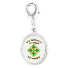 Army - Division - 4th Infantry Silver Oval Charm