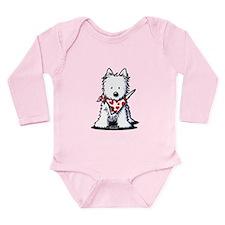 Heart Scarf Westie Long Sleeve Infant Bodysuit