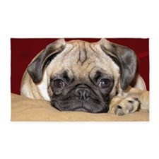 Adorable iCuddle Pug Puppy 3'x5' Area Rug