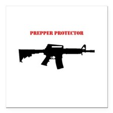 "Prepper Protector Square Car Magnet 3"" x 3"""