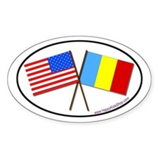 Oval Sticker USA/Romania