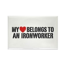 My Heart Belongs To An Ironworker Rectangle Magnet