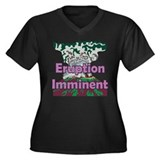 Volcano Eruption Women's Plus Size V-Neck Dark T-S
