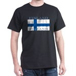 Finland Finish Flag Black T-Shirt Shirt