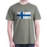 Finland Finish Flag Military Green T-Shirt