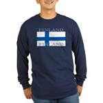 Finland Finish Flag Long Sleeve Blue T-Shirt