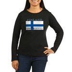 Finland Finish Flag Womens Sleeved Black T-Shirt